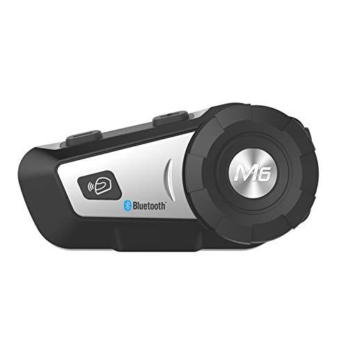 Auriculares de Casco de Motocicleta de intercomunicación Bluetooth 1000M para 2rider BT Walless Walkie Talkie Moto Stereo INTERPONO MP3 GPS FM Radio (Color : Silver)