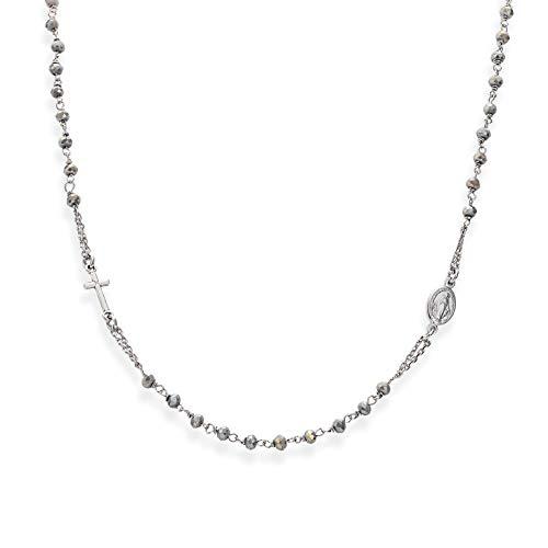 Amen Collana In Argento 925 Collezione Rosari - Colore Rodio - Misura Unica