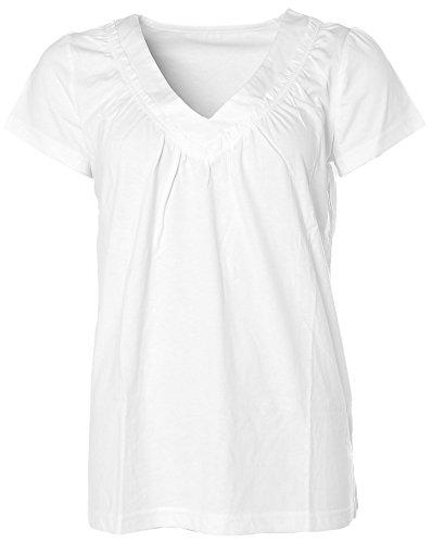 Chillytime Damen Kurzarm Shirt T-Shirt V-Ausschnitt Rüschen 36/38 weiß