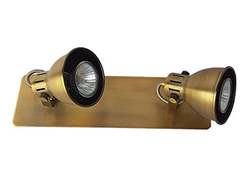 Deckenstrahler Spotlampe Letora Wandleuchte Deckenleuchte Spot Strahler Fassung GU10 Beleuchtung Spotleuchte Deckenbalken (Altmessing - 2flammig)