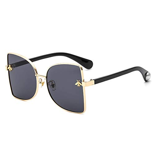 NJJX Moda Mujer Pequeña Abeja Gafas De Sol Coloridas Remaches Gafas Mujer Hombre Al Aire Libre Viajes Anteojos Negro
