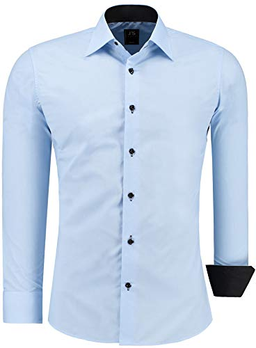 J'S FASHION Herren-Hemd - Vergleichssieger 2019* - Slim-Fit - Langarm-Hemd - Bügelleicht - EU Größen: S bis 6XL - Hellblau L