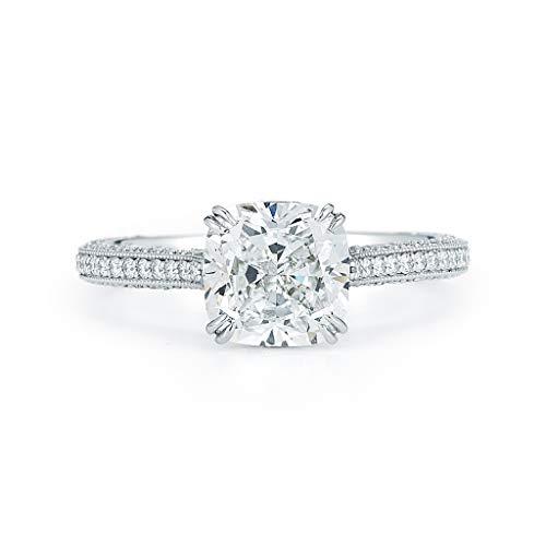 Photo of Rachel Koen Cushion Cut Solitaire Triple Pave Diamond Engagement Platinum Ring 2.80cts