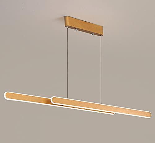 Modernas Comedor LED Colgante de Luz Regulable Lámpara Colgante de Techo con Mando a Distancia Iluminación Colgante Altura Ajustable 48W Sala de Estar Cocina Mesa De Comedor Estudio L120CM,Oro