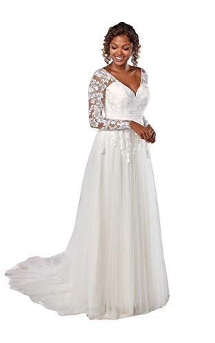 Nanger dames V-hals tule kant trouwjurk lange mouwen bruidsjurken open rug