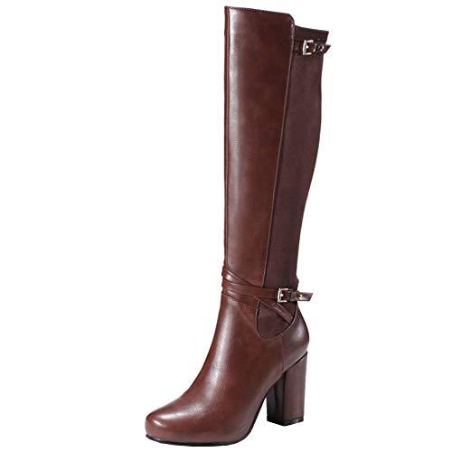 Lydee Mujer Classic Equestrian Botas Cremallera Tacon Ancho Botas Rodilla Alta Zapatos Invierno Comfort Botas Largas Brown Tamaño 40
