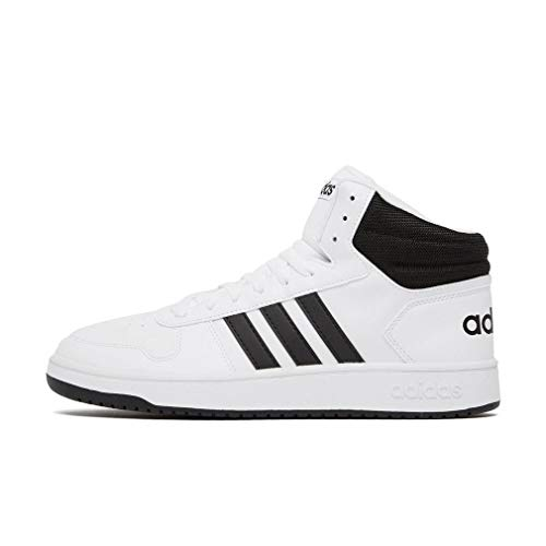 adidas Hoops 2.0 Mid, Zapatillas Altas para Hombre, Blanco (Footwear White/Core Black/Core Black 0), 42 2/3 EU