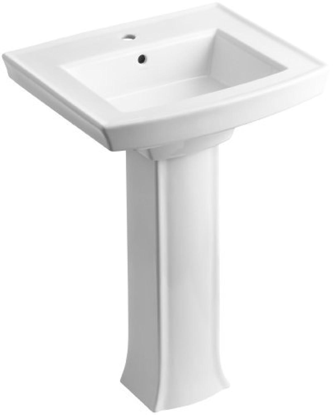 イブニングギャザーメルボルンKOHLER K-2359-1-0 Archer Pedestal Bathroom Sink with Single-Hole Faucet Drilling, White [並行輸入品]