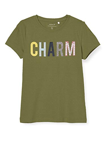 NAME IT Mädchen NKFDEKIA SS TOP T-Shirt, Loden Green, 134-140