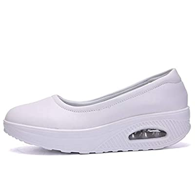 SamenoSt. Women Slip On Working Shoes - Lightweight Wedge Air Cushion Comfy Sneakers for Standing All Day Black White