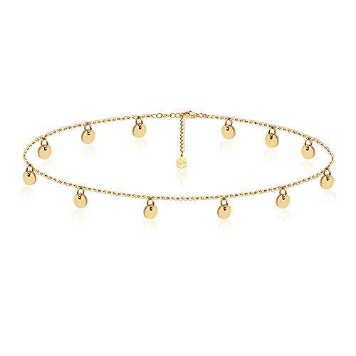Good.Designs Armkette mit runden Plättchen - Damen Armband mit 12 kleinen Kreisen (Gold) goldarmband goldenerschmuck goldene vergoldet golden goldfarben