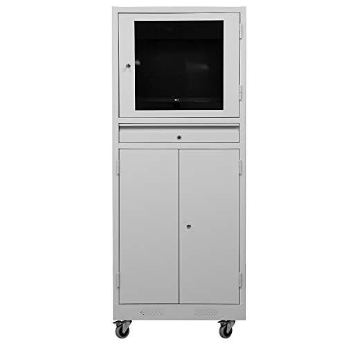 Certeo Industrie-PC-Schrank | HxBxT 170 x 68 x 60 cm | Grau | Computerschrank EDV-Schrank AV-Schrank Computerständer
