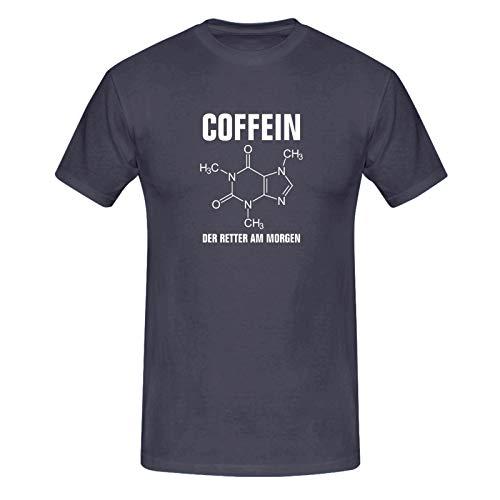 T-Shirt Coffein Retter am Morgen Kaffee Spruch Humor Fun 13 Farben Herren XS-5XL Koffein Junkie Energiedrink Geschenk Idee, Farbe:dunkelgrau - Logo Weiss, Größe:L