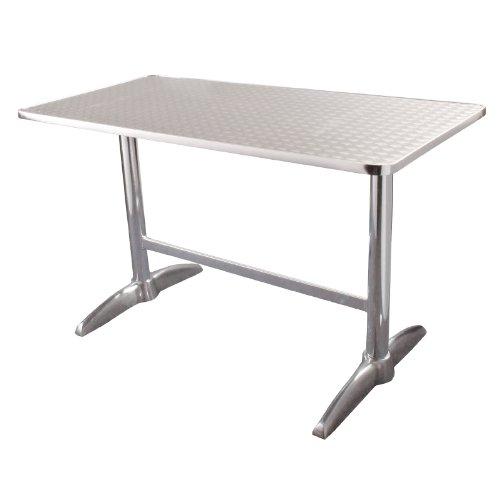 Bolero u432rectangular pedestal mesa, tablero de acero inoxidable y borde de aluminio, 1200mm x 600mm), color plateado