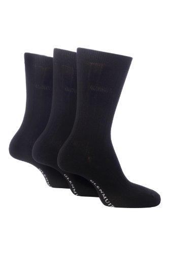 Glenmuir Herren 3 Paar Klassische Bamboo einfarbige Socken In 4 Colours - 7-11 Mens - Schwarz
