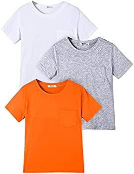 3 Pack Boyoo Boys Solid Cotton Crew Neck Top Tee with Pocket