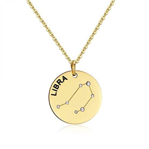 Qings Collar de Libra Dorado Constelación Zodiaco Collar de Moda Regalo de Joyería para Novia