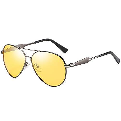 Gafas de visión nocturna retro de montura grande para hombre, polarizadas, clásicas, con protección UV, gafas de sol de conducción (C3)