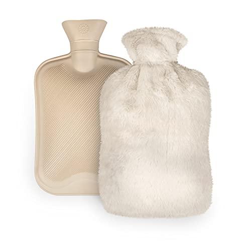 Babmoge Borsa dell'acqua Calda da 2L Borsa per l'acqua calda con peluche Morbida Copertura un ottimo regalo per madre e padre(bianco)
