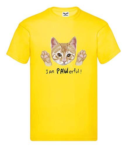 Camiseta – I Am Pawerful gato – Camiseta unisex para niños – niños y niñas amarillo 104 cm