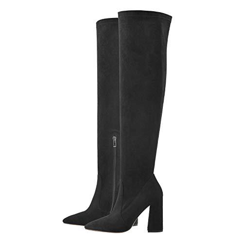 Only maker Botas de mujer por encima de la rodilla con tacón de bloque y lazos y cremallera, color Negro, talla 36 EU
