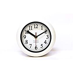 Perfect White Shell Water Resistant Clock, Quartz Movement, Simple Design, 6.5 in Diameter, ABS Glass Front, Flexible Options to Hang or to Stand. Withstand Water Vapor and Moisture.