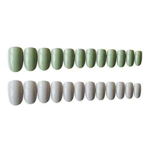 TJJF 24Pcs Elegante hellgraue grüne Farbe Damen Sweet Fake Nails Diy Fashion Nail Art Tipps mit Kleber Kurze runde künstliche Nägel