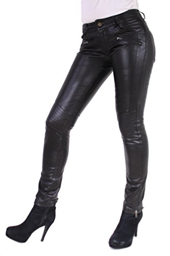 RICANO Tally Pant Damen Lederhose, Lamm Nappa Echtleder in schwarz (Schwarz, M)
