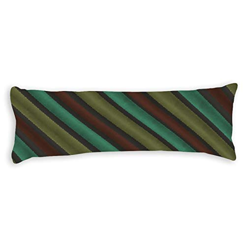 Promini Stripes Green Yellow Brown Grey Body Pillow Cover Pillowcases Cushion with Hidden Zipper Closure for Sofa Bench Bed Home Decor 20'x54'