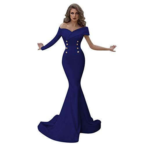 SANNYSIS Damen Langarm Abendkleider Elegante Unregelmässig Maxikleider Langes Ärmellos Einfarbig Etuikleid Slim Ballkleid Festlich Hochzeit Party Abend Kostüm (XL, Blau)