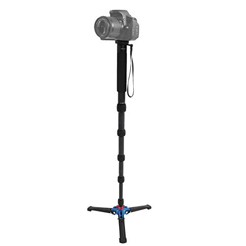 Pomya 2 in 1 Einbeinstativ für Kamera, Tragbare 10 kg Schwere Last, 6 Abschnitte, Teleskop-Carbonfaser-Ultra-Einbeinstativ-Stativ für die Meisten Kameras, Wandern und Klettern Cane