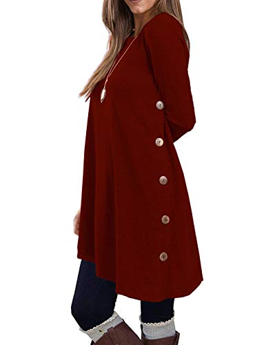 KORSIS Women's Long Sleeve Round Neck Button Side T Shirts Tunic Dress Wine Red XXL