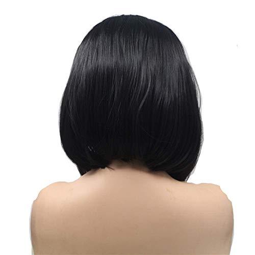 WOHAO Perruque Courte Perruque Dames Dentelle Devant Perruque Courte Fibres Chimiques Cheveux raides (Couleur: Noir) (Color : Black)