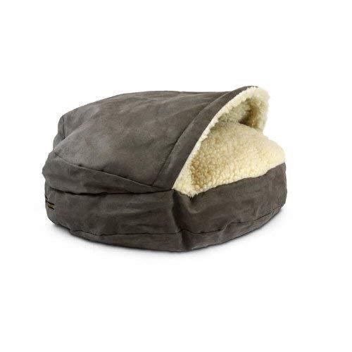 Ezoon Cozy Cave Hundebett mit Mikroveloursleder, pflegeleicht, mit waschbarem Bezug, für kleine und mittelgroße Welpen, Schlafsack, Katzennest, hygienisch, sehr langlebig