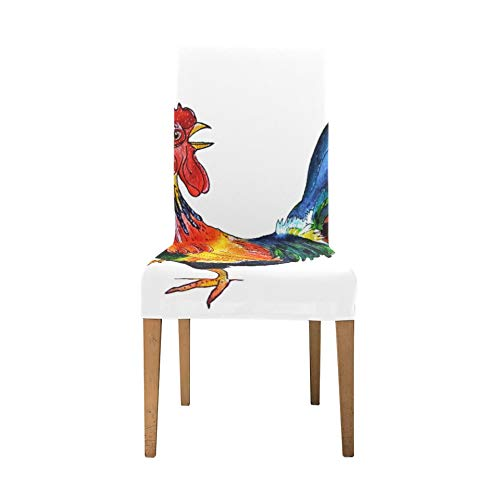 Chair Cushion Cover Colorfull Rooster On A White 520292749 Chair Stretch Covers For Dining Room Soft Stretch Dining Room Chair Slip Covers Washable Removable Chair Slipcovers
