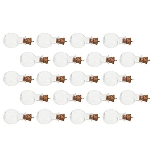 NOLITOY 20pcs Mini Drift Botellas de cristal transparente Mensaje en forma de corazón Botellas con tapón de corcho Pequeñas Botellas de Deseo de Vidrio Tarros de Decoración DIY Botellas 2. 8x2cm
