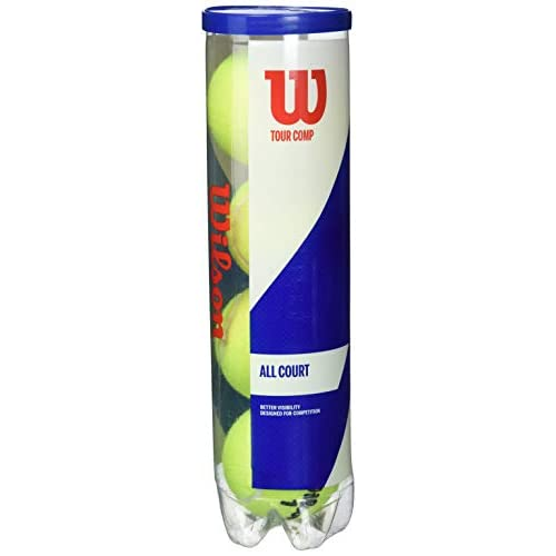 Wilson WRT102600 Palline da Tennis Tour Comp, Tubo con 4 Palline, per Campi da Tennis Duri, Giallo