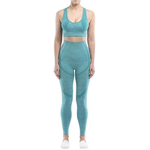 NIDONE Ropa De Deporte para Mujer Conjunto Transparente Trajes De Yoga Entrenamiento Conjuntos Pantalones De Talle Alto Legginngs Cultivos Top Green L 2pcs