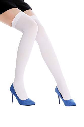 Dress Me Up - WZ-003W Halterlose Strümpfe Damenstrümpfe Overknees Stockings Karneval Sexy Weiß