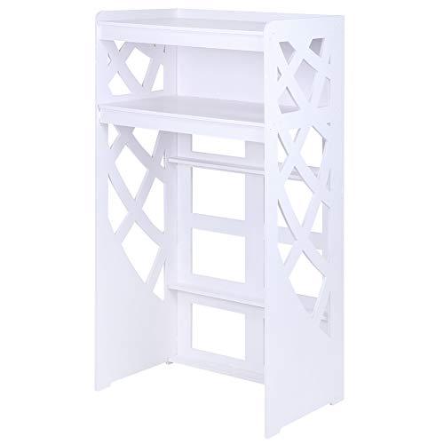 lyrlody- Estante de Lavadora, Armario de Baño para Lavadora Secadora Aseo WC, de 2 Nivel hasta 25 kg Blanco, 63 x 39,5 x 120 cm