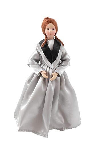 Melody Jane Puppenhaus Viktorianisch Dame in Grau Abendkleid Porzellan Damen 1:12 Menschen