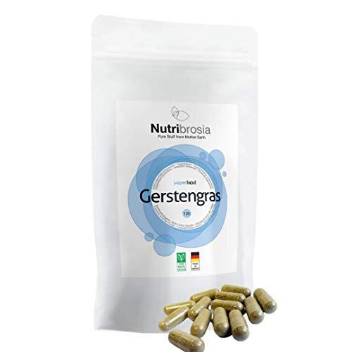 NUTRIBROSIA Gerstengras Kapseln I 100% vegan ohne unnötige Zusätze I Gerstengraskapseln hochdosiert I Aus kontrolliertem Anbau I glutenfrei I Superfood I 120 Kapseln