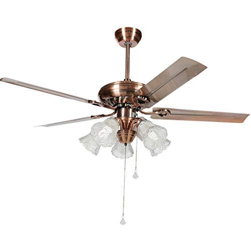 Luz silenciosa moderna del ventilador Industrial techo de la vendimia fan del metal de luz LED de luz de la sala ventiladores de techo ligera de la decoración con el control de tracción de la cadena E