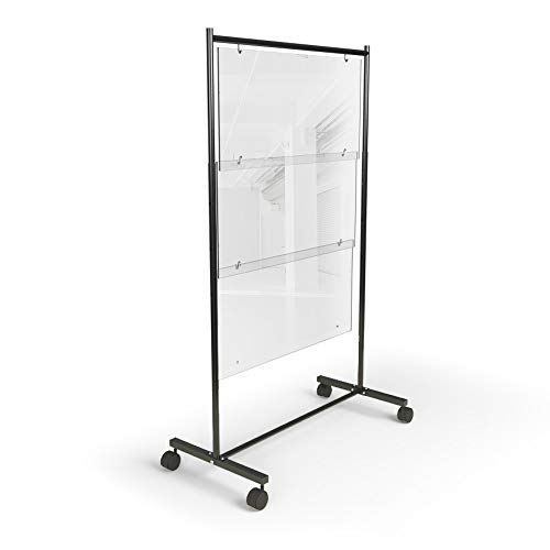"""Sneeze Guard for Restaurants, Schools and Offices (36' W and Adjustable 52"""" to 60"""" H) Clear Acrylic Plastic Shield Mobile Wall Partition, Rolling Barrier Between Tables and Desks [Made in USA]"""