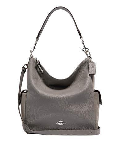 Coach Pennie Mixed Leather Shoulder Purse - #C1522 - Silver/Grey