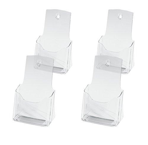 SIGEL LH113 Tisch-Prospekthalter DIN lang/A6 aus hochwertigem Acryl, 4-er Pack / Prospektständer / Flyerhalter