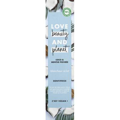Love Beauty And Planet Dentifrice Blancheur Vegan, Blancheur Éclat, Menthe poivrée et Coco, Formule Biodégradable, Certifié Vegan, 75ml