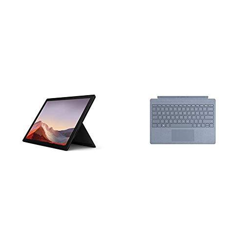 """Microsoft Surface Pro 7 Ordinateur Portable (Windows 10, écran Tactile 12.3"""", Intel Core i7, 16Go RAM, 512Go SSD, Noir) + Clavier AZERTY français Type Cover Bleu Glacier"""
