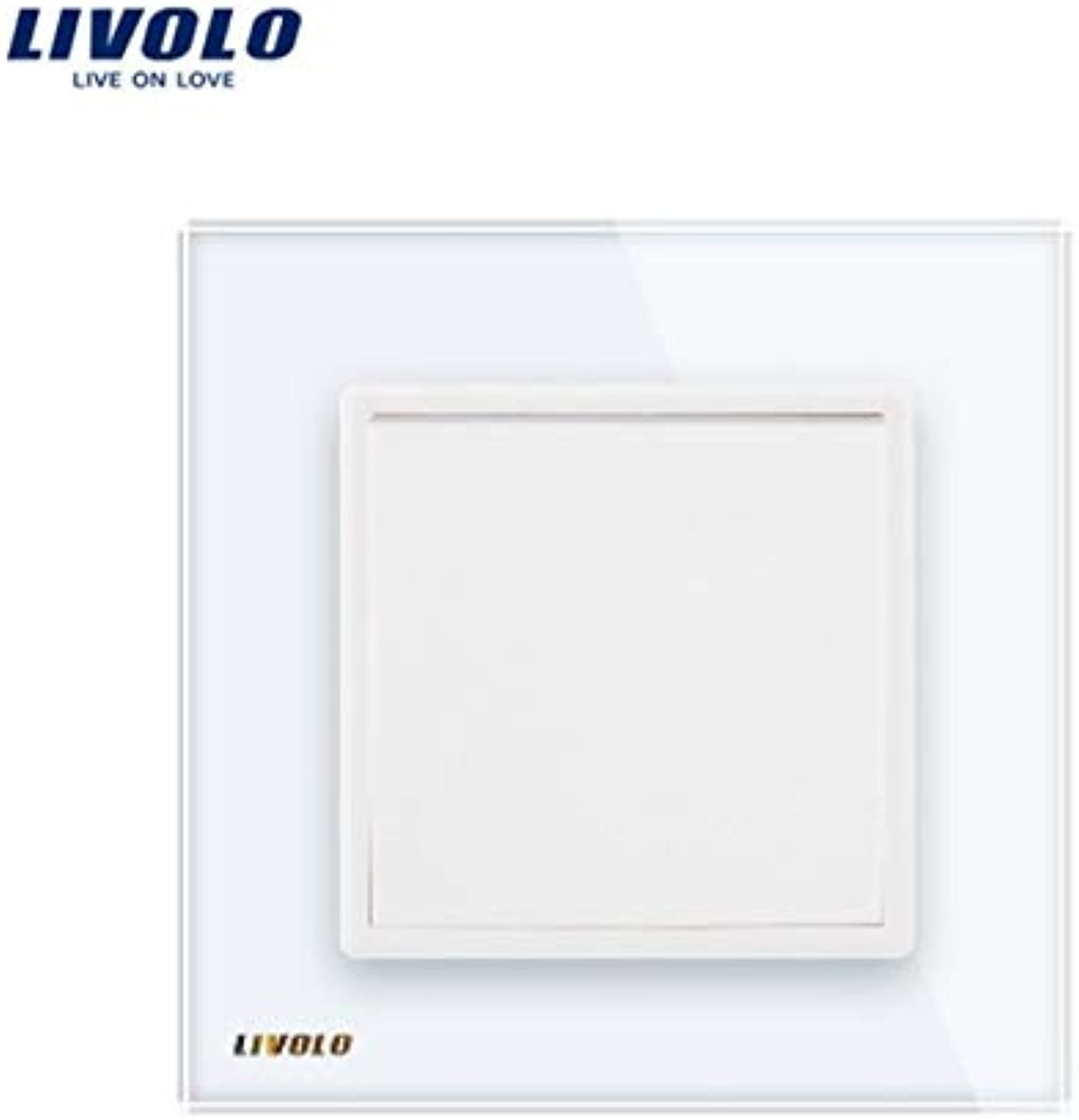 2018 Livolo Manufacturer EU Standard Luxury White Crystal Glass Panel, 1 Gang 1 Way Push Button Switch, VLC7K111  (color  White, Number of Gangs  1Gang)