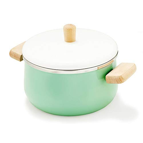 Enamel Wood Handle pan Soup pan Thickened Noodle General Home Induction Cooker stew Manual Set (Color : 4)